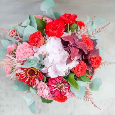 Red aster wedding bouquet