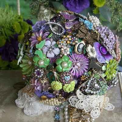 Vintage purple alternative wedding bouquet