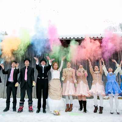 English winter wedding guests