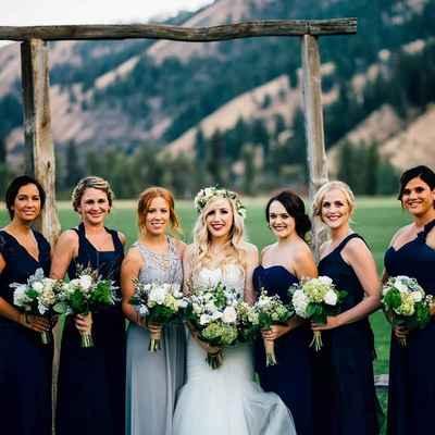 Outdoor blue bridal hair and make-up