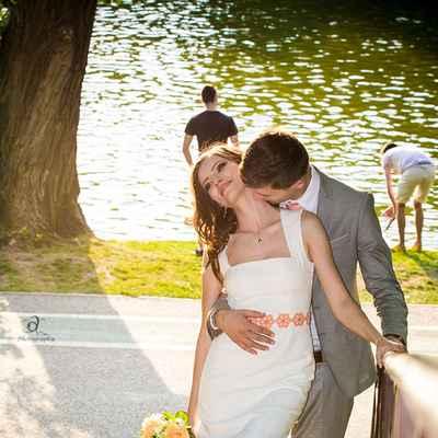 Orange short wedding dresses