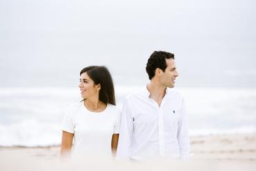 Beach white engagement
