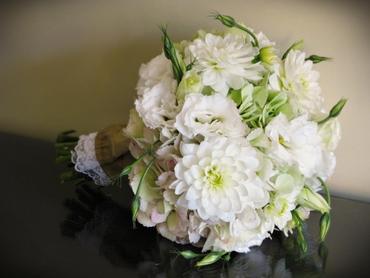 White eustoma wedding bouquet