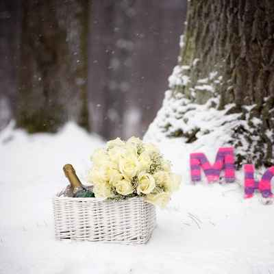 Winter pink photo session decor