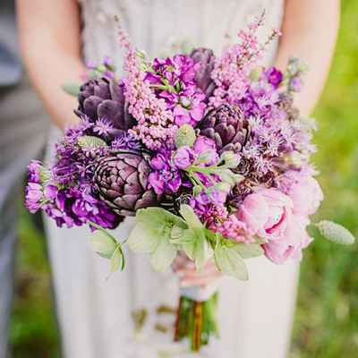 Purple tulip wedding bouquet