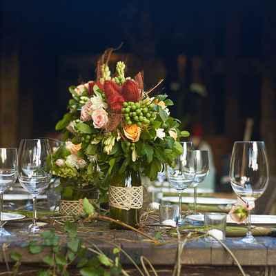 Outdoor wedding floral decor
