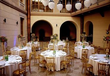 Gold wedding reception decor