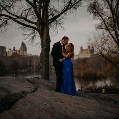 Outdoor autumn blue long wedding dresses