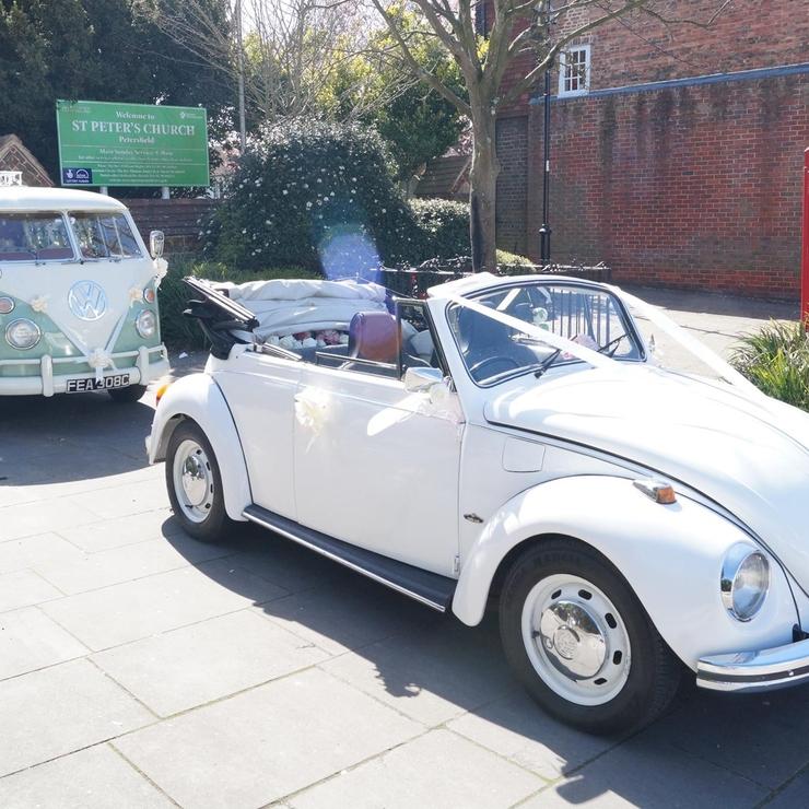 White convertible VW Beetle