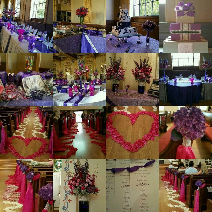 Purple and Fushisa wedding