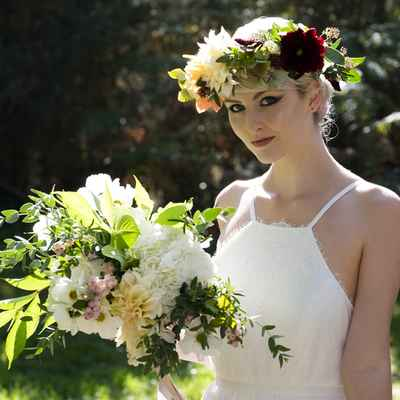Outdoor white hydrangea wedding bouquet