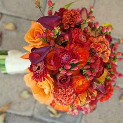 Autumn orange rose wedding bouquet