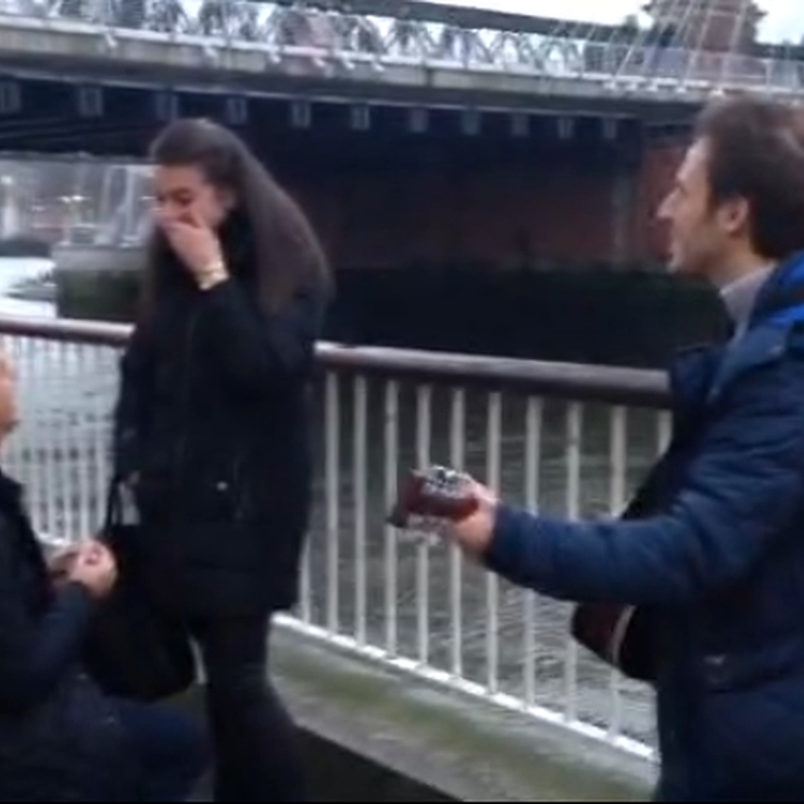 Performing for a proposal on the Southbank