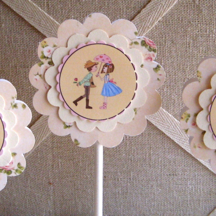 Bridal Shower or Garden Wedding Cupcake Toppers