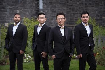 Black outdoor groom style