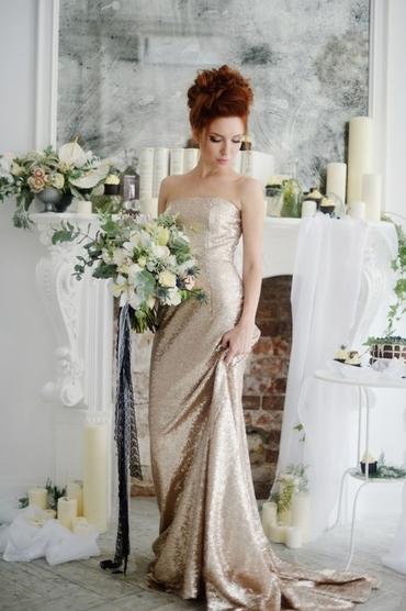 Overseas gold long wedding dresses