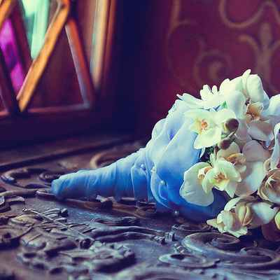 Vintage blue orchid wedding bouquet