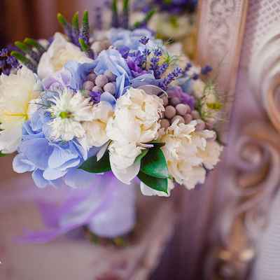 Blue peony wedding bouquet