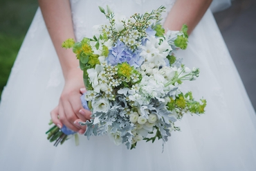 Blue daisy wedding bouquet
