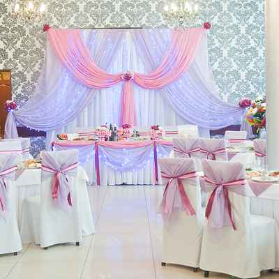 Pink wedding reception decor