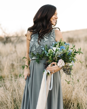 Outdoor grey closed wedding dresses