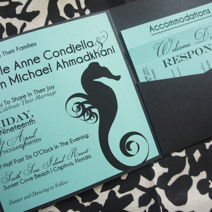 Seahorse Wedding Invitation & Stationery