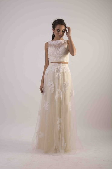 Ivory long train wedding dresses