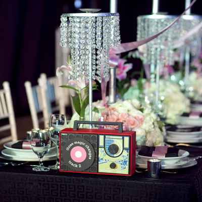 Themed black wedding reception decor