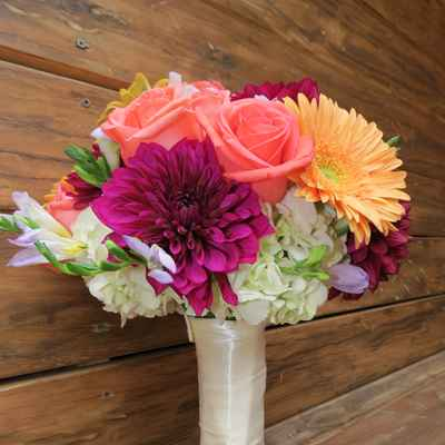 White gerbera wedding bouquet