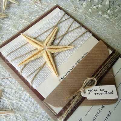 Marine ivory wedding invitations