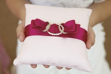 Pink wedding ring pillows