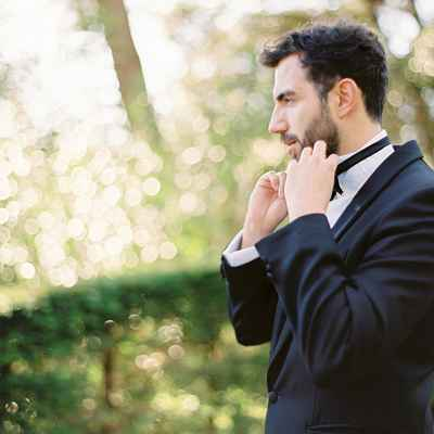 Black outdoor groom style