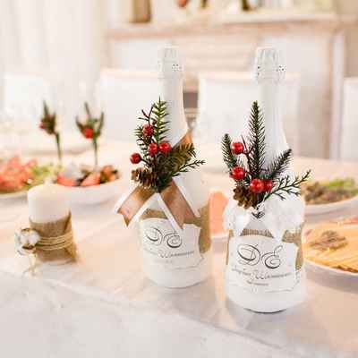 Winter brown wedding reception decor