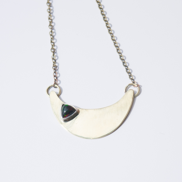Black Opal Trillion Brass Necklace