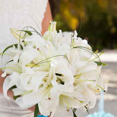 Blue lilly wedding bouquet