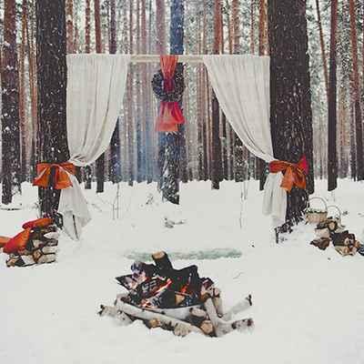 Rustic winter wedding ceremony decor