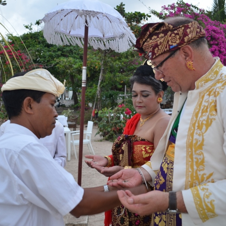 Balinese blessing at a restaurant in Tanjung Benoa