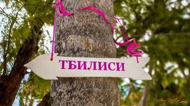 Pink wedding signs