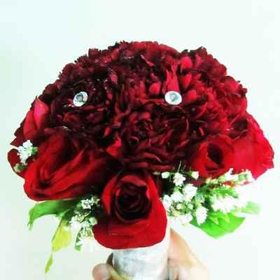 Red rose wedding bouquet
