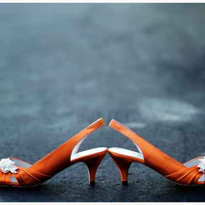 Orange wedding shoes