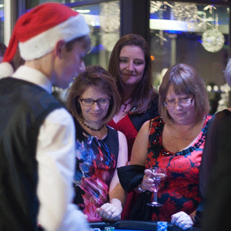 Entertaining the guests at Christmas Party in Trowbridge Civic Center