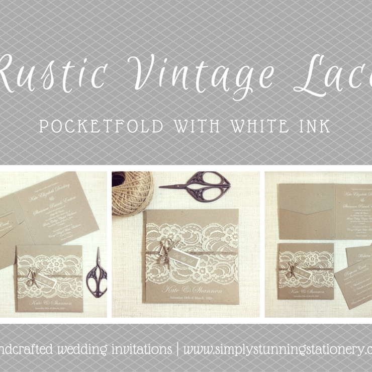 Rustic Vintage Lace Pocketfold Invitations