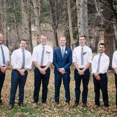 Outdoor autumn white groom style