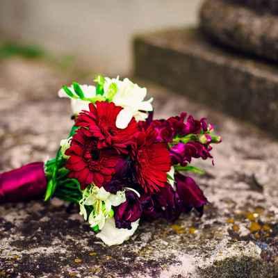 White gerbera wedding bouquet
