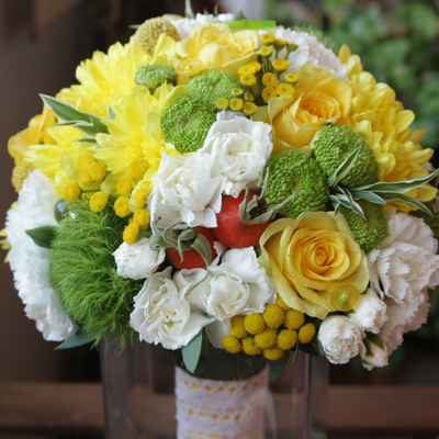 Yellow aster wedding bouquet