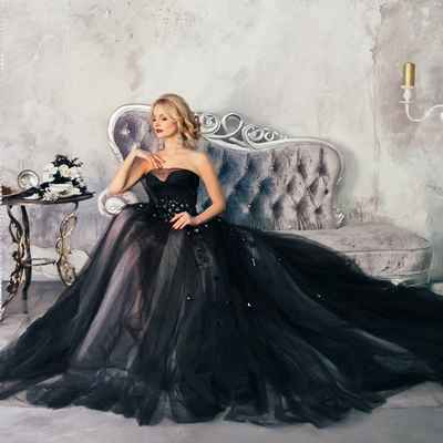 Overseas black long wedding dresses