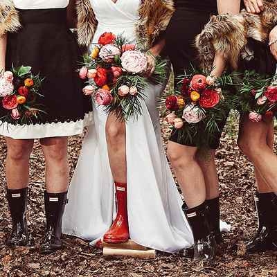 Outdoor red rose wedding bouquet