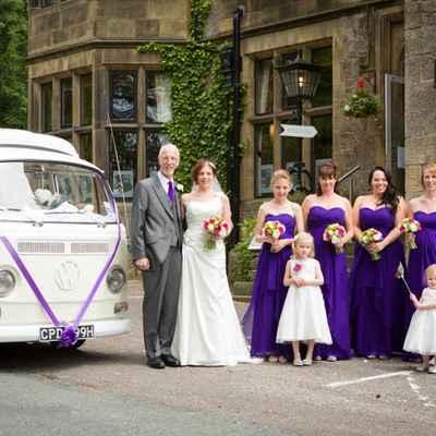 Vintage blue wedding transport
