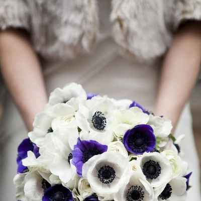 Purple anemone wedding bouquet