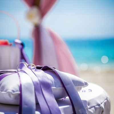 Purple wedding ring pillows